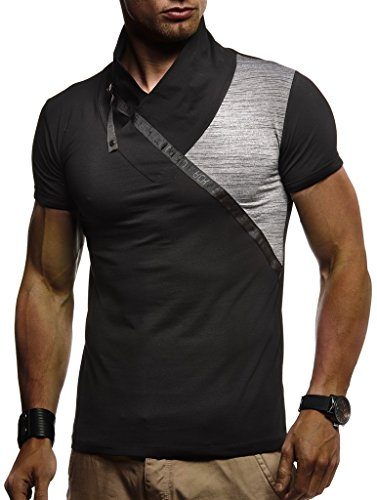 LEIF NELSON Herren Sportshirt T-Shirt Hoodie Sweatshirt Crew Neck Stehkragen Sommer Kurzarm Longsleeve Modern Basic Polo