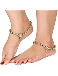 Gold Plated Kundan Studded Anklets Payal For Girls & Women By Dipali
