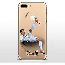 IP7 Plus / IP8 Plus COVER TPU GEL TRASPARENTE morbida Custodia protettiva, Soccer Collection, Cristiano Ronaldo, iPhone 7 Plus, iPhone 8 Plus