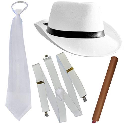 German Trendseller® - Mafia - Kostüm - Set - Deluxe ┃ Gangster Weiss ┃ 20er Jahre ┃ Al Capone Hut + Krawatte + Hosenträger + Zigarre ┃ Mafiosi Boss ┃ ()