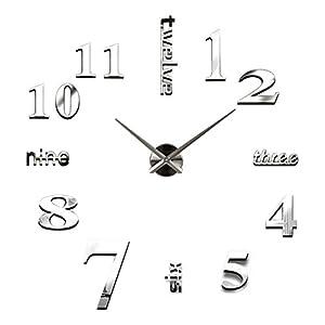 Alicemall Pegatinas de Reloj de Pared Adhesivos DIY Bricolaje Acrilico Decoración de Hogar Plata 3 Modelos Disponibles y 2 Colores marca Alicemall