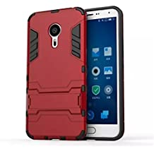 Meizu MX5 Pro Funda, Gift_Source [Dual Layer Design] 2 in 1 Shockproof Hybrid Soft TPU Inner Skin and Hard PC Rugged Protective Funda Con Built-in Kickstand para Meizu MX5 Pro [Red]