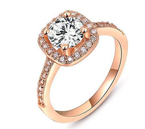 Bling Jewelry Donna Platino/Oro rosa placcato in oro/giallo taglio brillante anello di fidanzamento, 18ct placcato oro rosa, 7, cod. 1010035240