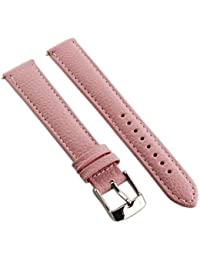 10mm bande de montre en cuir de buffle véritable sangle rembourrée pour homme Mesdames SS Boucle Rose/blanc