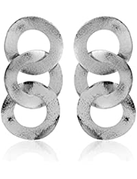 Thingalicious Silver Plated Drop Earrings for Women (TER00078)