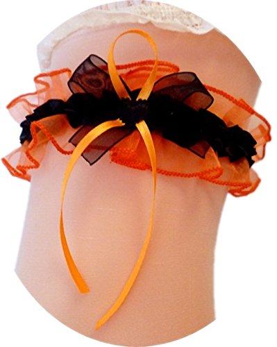 Unbekannt Süßer Braut Strumpfband mit Schleife und Herzchen Hochzeit Neu Strumpfbänder (bis 60 cm, schwarz-orange)