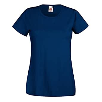 Fruit Of The Loom - Maglia Manica Corta - Donna (XS) (Blu navy)