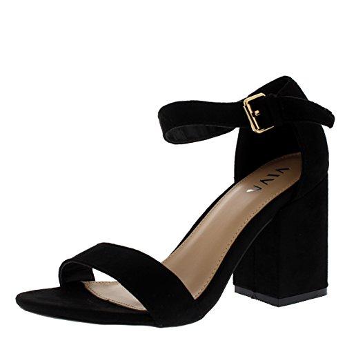Viva Mujer Ancho Medio Bloquear el Talón Ante Correa de Tobillo Casual Zapato Sandalias - Negro KL0298P...