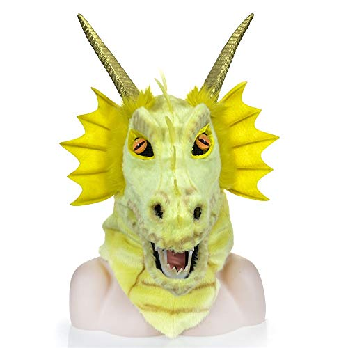BEIXI Entwurfs-beweglicher Mund-Gelb-Drache-Kopf-Bunte brutale Partei-Masken-gehörnte Dinosaurier-Masken-Drache-Kopfbedeckung, die den Pelz-Mund bewegt, der für Holloween Sich bewegt (Gehörnte Brille Kostüm)
