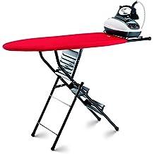 takestop® - Tabla de planchar plegable, doble función de escalera/taburete de 3 peldaños, tabla resistente, color aleatorio