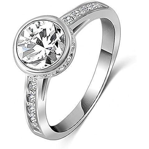 Alimab Gioielli donna anelli di fidanzamento anelli di nozze Donne anelli fedi donna oro anelli rotondi placcato oro