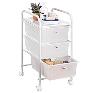 IDIMEX Badregal Rollwagen Rollcontainer GINA, mit 3 transparenten Schubladen und Metallgestell in weiß lackiert