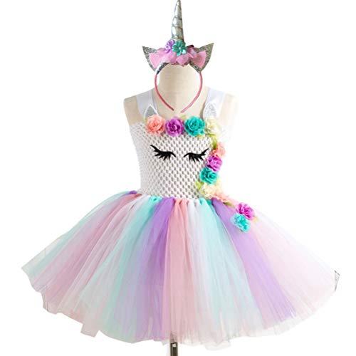 Mädchen Einhorn Tutu Kleid mit Stirnband Kostüm Outfit Prinzessin Party Halloween Cartoon - Erwägungsgrund Kostüm