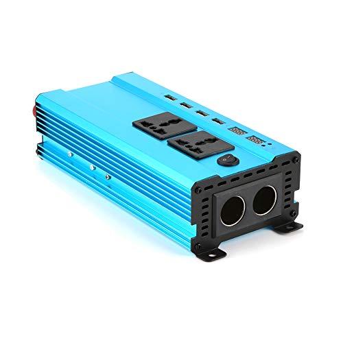 YUYDYU 1200W / 550W Wechselrichter, DC 12V zu AC 220V Autokonverter mit 4X USB Ports, 2X Wechselstromsteckdosen und 2X Zigarettenanzünder Blau