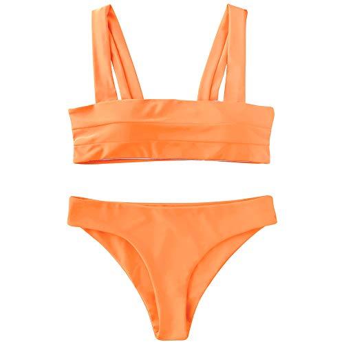 ZAFUL Sexy Gepolsterte Bikini Set, Badeanzug mit Breiten Trägern zweiteiligem Oberteil, Square Neckline Swimwear (Neon Orange, M)