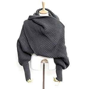 WINOMO Automne hiver unisexe tricoté écharpe châle de Cape avec manches gris foncé