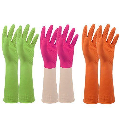 3 Paar Der Robuste Gummihandschuhe - Ideal für alle groben Arbeiten im Haushalt, die erhöhten Schutz erfordern - mit 3 Farben (grün, Orange, Pink) / 3 Größen (klein, mittel, groß) (klein, grün, Orange, Pink)