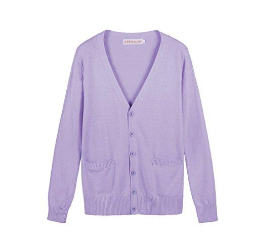 QIYUN.Z Jk Couleurs Uniformes De Bonbons a Manches Longues En Coton Mignon Tricoter Sommets Scolaires Cardigan Violet clair
