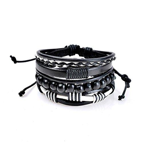 nder DAY.LIN Mode Frauen Multilayer Handmade Armband Lederarmband Armreif (H) (H Armband Armreif)