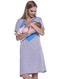Happy Mama. Para Mujer Camisón Estampado Premamá de Embarazo y Lactancia. 873p