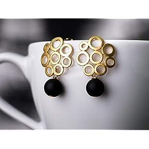Ohrstecker gold-schwarz, klassisch-modern, matt-gold, Bubble-Ohrringe mit Onyx, das perfekte Geschenk