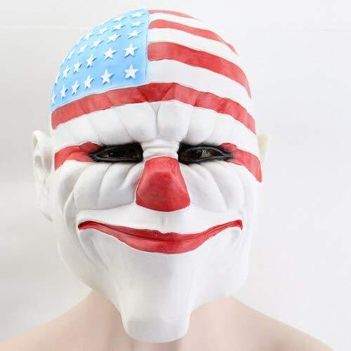 Dodom PAYDAY2 Maske Stereo Effekt Halloween Maskerade Full Cover Latex Maske Dallas Dick Für Erwachsene Cosplay Halloween Maske, Weiß