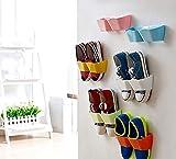 Yosoo 4stk Kreative Möbel Deko Kunststoff Schuhregal für die Tür zum Hängen Hängeorganizer für Tür Schuhe Wandregal festkleben Design Türregal für Schuhe (Orange)