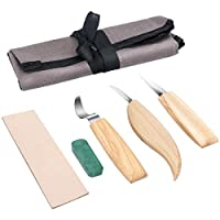 Wood Carving Tools Powcan 5 in 1 Carving Kit Wood Carving Tools Set- Includes Carving Hook Knife, Whittling Knife, Chip Carving Knife, Carving Knife Sharpener for Spoon Bowl Cup Kuksa Woodworking