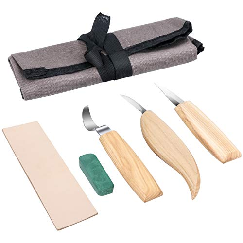 Holz-Schnitzwerkzeug Set, Powcan 5 teiliges Holz-Schnitzmesser Holz Schnitzmesser Set inkl. Tasche,ideales Schnitzwerkzeug Set zum Löffelschnitzen