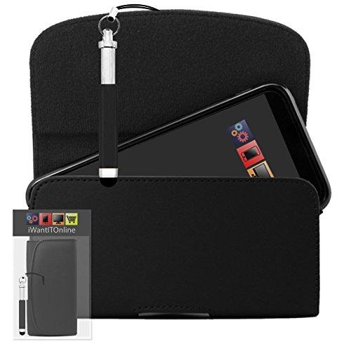 IWIO Schwarz PU Seitentasche aus Leder Abdeckung Holster mit Gürtelschlaufe Clip und Magnetverschluss Enthält Schwarz Wiederziehbar Tip Stylus Stift für LG Optimus LU6200 LTE