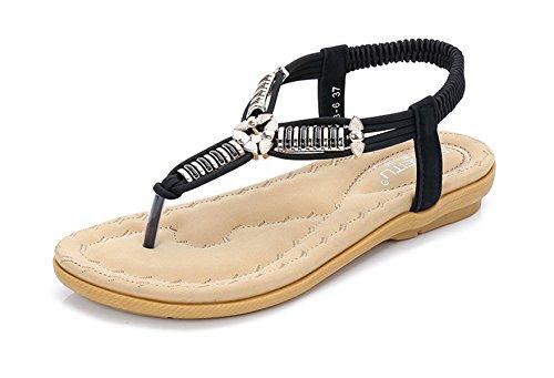 FAIRYRAIN Damen Sandalen Sommer Plattform Elastic Back Strap Clip Toe Tanga Sommerschuhe Frauen Flach Sandaletten