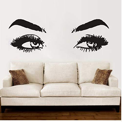 Makeup Shop Wand Tabs Vinyl Wandaufkleber Wimpern Und Augenbrauen Wandbild Beauty Salon Abnehmbare Dekoration Poster Wand 126X42 cm