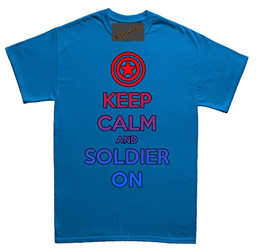 Renowned Keep calm and soldier on Unisex - Kinder T Shirt Blau