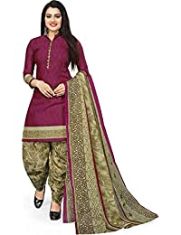 Rajnandini Women's purple Cotton printed Unstitched Salwar Suit Material (Free Size)