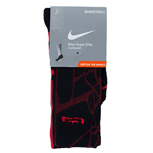 Nike Crew Socks Lebron Hyperelite Basketball C Black/University Red, M - Nike Graphic Knit