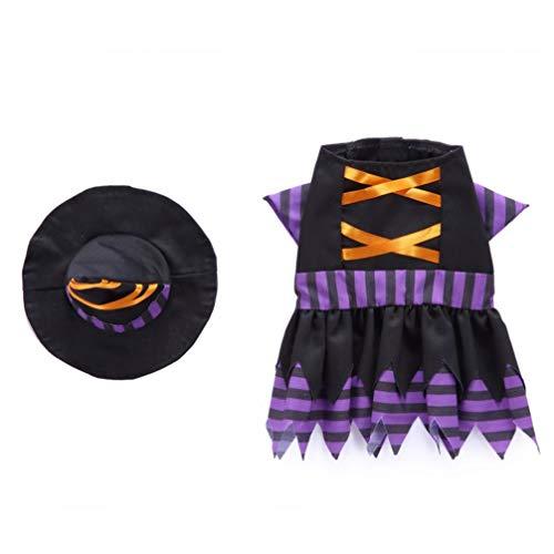 Balacoo Halloween Haustier Kostüm Hund Hexe Cosplay Kleidung Hund Cosplay Kleidung mit Hexenkappe Hund süß Kostüm für Halloween Hund - Hexe Kostüm Für Hunde