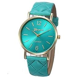 WINWINTOM Roman Leather Band Analog Quartz Wrist Watch Sky Blue