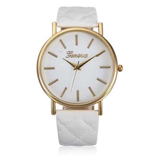 Donna-orologio Elegant Franterd orologio alla moda senza tempo e Design classico in pelle romana numeri-pelle-analogico al quarzo orologio da polso bianco