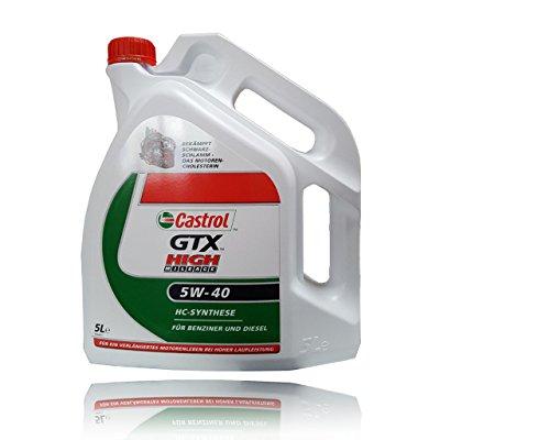 Preisvergleich Produktbild 5 L Liter Castrol GTX High Mileage 5W-40 Motor-Öl Motoren-Öl inkl. Castrol Ölwechsel-Anhänger; Spezifikationen/Freigaben: SAE 5W-40; API SM/CF; ACEA A3/B4; MB-Freigabe 229.3; VW 502 00/505 00; BMW Lon