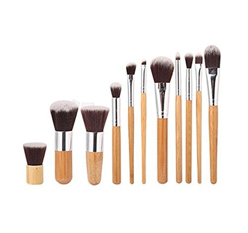 Incendemme 11pcs Pinselset Schminkpinsel Kosmetikpinsel Bambus Schminke Pinsel Make Up Tool (Kabuki Karneval Kostüm)