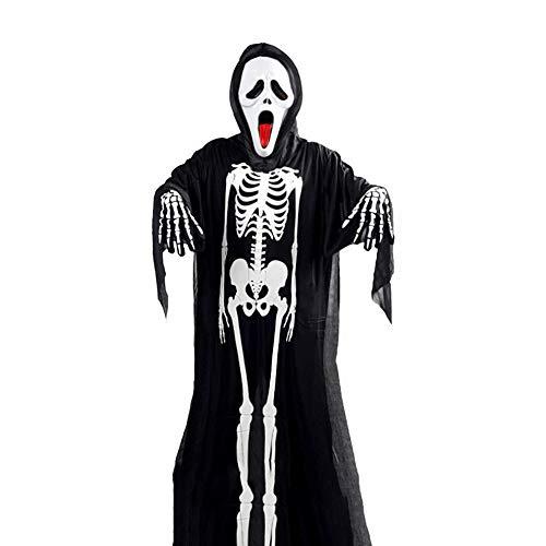 JIE Weißes Knochenskelett-Geistkostüm-Maskeradekostüm Halloween-Kostüm Kleidet Erwachsene Kinderhorrormaske,schwarz,B