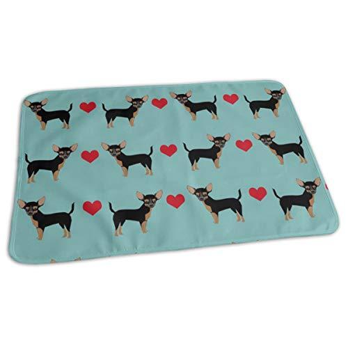 Tan Heart Fabric Pet Dog Breed, Baby Portable Reusable Changing Pad Mat 19.7