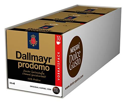 NESCAFÉ Dolce Gusto Dallmayr Prodomo, XXL-Vorratsbox, 90 Kaffeekapseln, 100 Prozent Arabica-Bohnen, Aromaversiegelte Kapseln, 3er Pack (3 x 30 Kapseln)