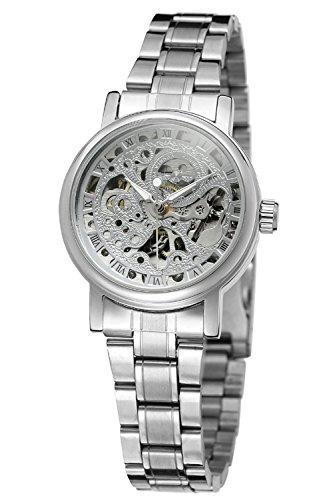 Gute Frauen Casual automatische mechanische Armbanduhr mit Silber Skelett Zifferblatt anlogue Display