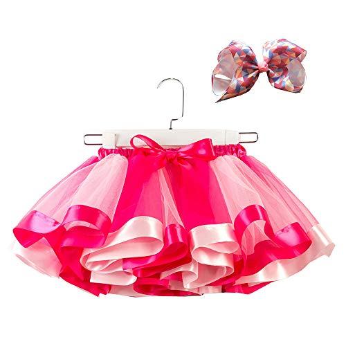 WOZOW Tutu Rock Kind Bunt Regenbogen Bowknot Haarspange Tanzkleid Festliche Minirock Halloween Weihnachten Neujahr Fasching Mädchen Tüllrock (Billige Tutus Für Erwachsene)