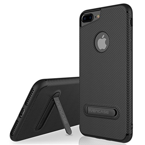 Funda iPhone 6 Negro , ivencase iphone 6s Silicona Anti-Arañazos Suave TPU Carcasa Metal Stand [Fibra de Carbono] Silicona Funda para Apple iPhone 6 / 6S 4.7""