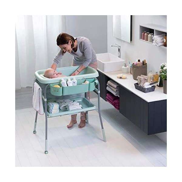 Baby Changing Table Unit Changing Station Storage Trays And Bath With Tub AA-SS-Baby Changing Table Comfortable height for changing the baby You can always keep a hand on your baby Material : New Zealand pine + lacquer-free board 8