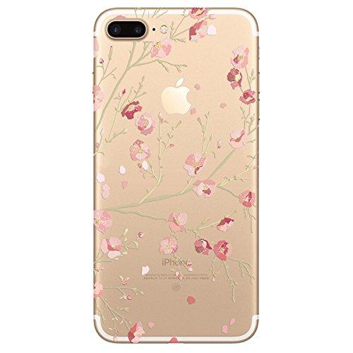iPhone 7 Hülle, Yokata PC Hart Case mit Weich Silikon Bumper Blumen Motif Schale Transparent Durchsichtig Dünn Case Schutzhülle Protective Cover - Rosa Weiß 1