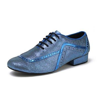 Scarpe da ballo-Non personalizzabile-Da uomo-Balli latino-americani Tip tap Danza moderna-Quadrato-Di pelle-Nero Blu Black