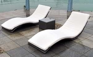 polyrattan relaxliegen duo set mimikri rattanliege sonnenliege schwarz. Black Bedroom Furniture Sets. Home Design Ideas